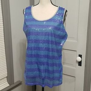 Avenue Sequin Front Jersey Knit Tank